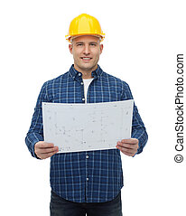 Smiling male builder in helmet with blueprint repair stock repair construction building people and maintenance concept smiling male builder or manual worker in helmet with blueprint malvernweather Choice Image