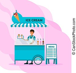 Smiling male character is working in ice cream stall on pink background. Conept of fresh ice cream of different flavours you can get outdoors in a park. Flat cartoon vector illustration