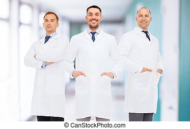 smiling male doctors in white coats - healthcare,...