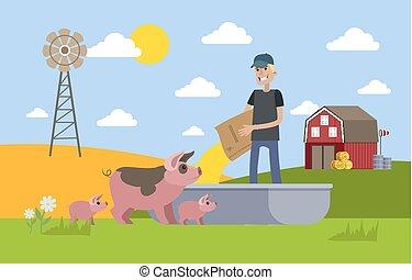 Smiling male farmer feeding pig on the farm