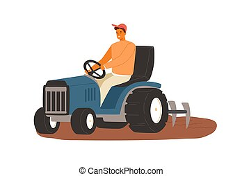 Smiling male farmer working on tractor vector flat illustration. Man driving heavy agricultural machinery for plowing field before seeding isolated on white. Agronomy guy during seasonal work.