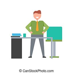 Smiling Male on Workplace Vector Illustration