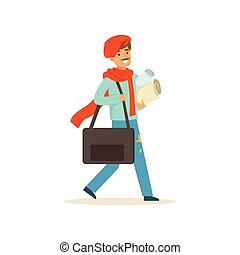 Smiling male painter artist character wearing red beret case walking with paper rolls and briefcase vector Illustration