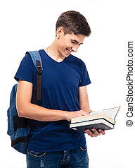 Smiling male student reading book