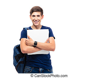 Smiling male student with backpack holding folders