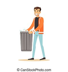 Smiling man arrying garbage bin, waste recycling and...