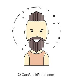 Smiling man character, minimalism cartoon flat