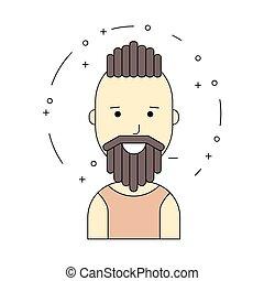 Smiling man character, minimalism cartoon flat