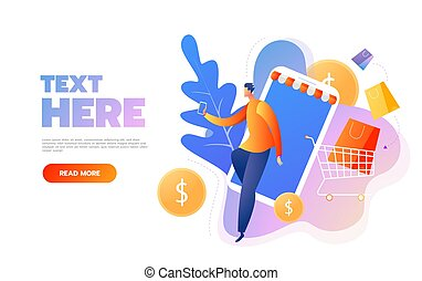 Smiling man character with shopping bags. Happy shopper. Online shopping isometric concept. Big Sale. Flat vector illustration