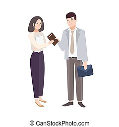 Smiling man giving notepad to woman. Pair of office workers, managers, colleagues or business partners isolated on white background. Colorful vector illustration in modern flat cartoon style.