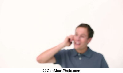 Smiling man hanging up his phone