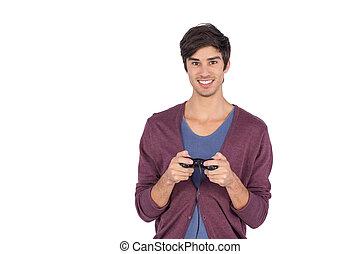 Smiling man holding joystick