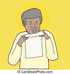 Smiling Man Holding Letter