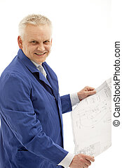 Smiling man holding plan in hand