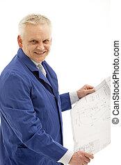 Smiling man holding plan in hand