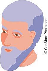 Smiling man icon, isometric style