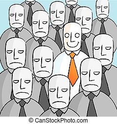 Smiling man in a crowd of sad people