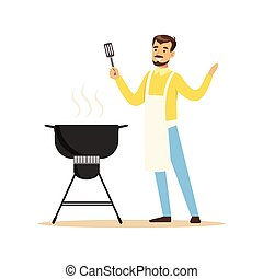 Smiling man in apron preparing barbecue on a grill vector Illustration