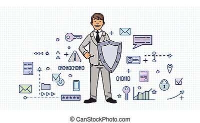 Smiling man in business suit with a shield among digital and internet security symbols. Personal data protection. GDPR, RGPD, DSGVO, DPO. Concept vector illustration. Flat style. Horizontal.