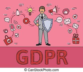 Smiling man in business suit with a shield among social media and internet items. Personal data. GDPR, RGPD, DPO, DSGVO. Concept vector illustration on pink background. Flat style. Horizontal.