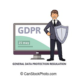 Smiling man in business suit with a shield in front of computer monitor showing GDPR date. General data protection regulation. GDPR, RGPD, DSGVO, DPO. Concept vector illustration. Flat style.