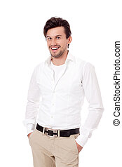 smiling man in casual business outfit isolated - smiling ...