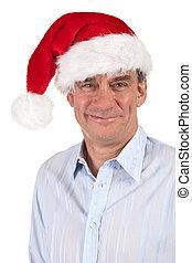 Smiling Man in Christmas Santa Hat