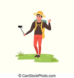 Smiling man in hat standing with backpack and making selfie, hiking tourist traveling, camping and relaxing, summer vacations vector Illustration on a white background