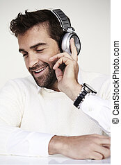 Smiling man in headphones