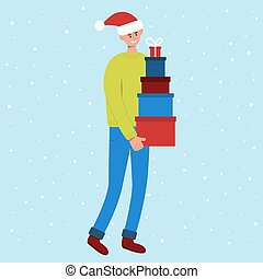 Smiling man in santa hat carrying tall stack of colored gift boxes. Preparing for Christmas and New Year celebration. Vector illustration in flat style