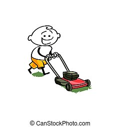 smiling man in shorts cutting the lawn with a hand mower