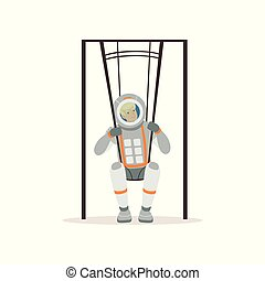 Smiling man in spacesuit training on special swings. Young astronaut preparing for space flight. Testing of physical activity. Colorful flat vector design