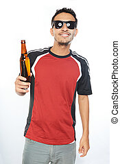 smiling man in sunglasses with beer
