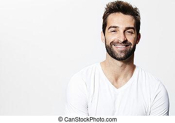 Smiling man in white