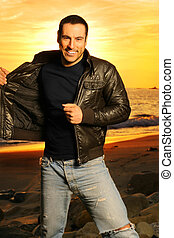 Smiling man on beach