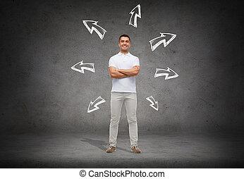 smiling man over arrow doodles background