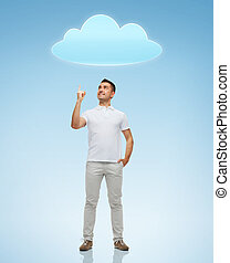 smiling man pointing finger up to cloud