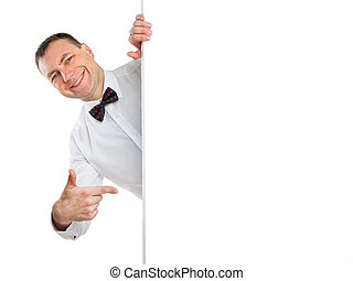 smiling man points a finger at to do list
