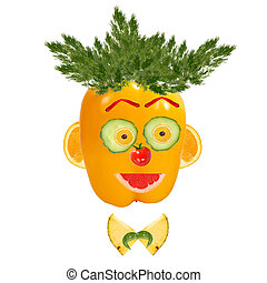 Smiling man portrait made of vegetables and fruits