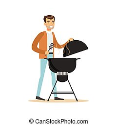 Smiling man preparing barbecue on a grill vector Illustration