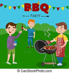 Smiling man preparing barbecue outdoors for his friends, BBQ boys party vector Illustration,