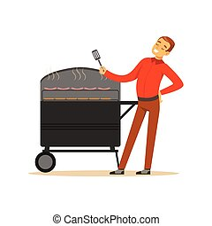 Smiling man preparing sausages and steaks on a barbecue grill vector Illustration