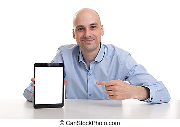Smiling man presenting website on tablet - isolated over...