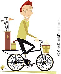 Smiling man rides the bike and goes to play golf isolated