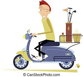 Smiling man rides the scooter and goes to play golf isolated illustration