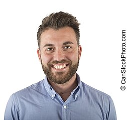 Smiling man - Simple young man face smiling and optimistic