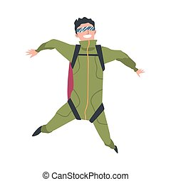 Smiling Man Skydiver Enjoying Freefall Freedom, Person Jumping with Parachute in Sky, Skydiving Extreme Sport Cartoon Style Vector Illustration