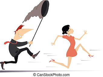 Smiling man tries to catch a running young woman with butterfly net illustration