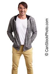 Smiling man wearing sportswear isolated