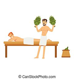 Smiling man wearing towel massaging another man with birch...